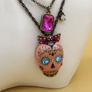 Betsey Johnson Pink Day of the Dead Necklace